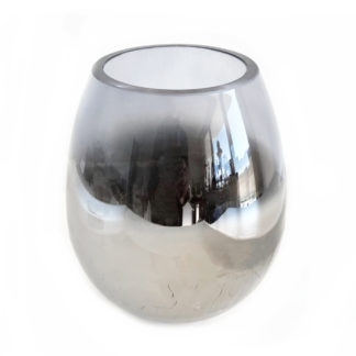 Teelicht silber grau blau Glas rauchig mit silber Boden crashed Glas schweres Teelicht von cor mulder