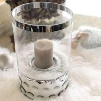 Windlicht Teelicht Teelichthalter Kerzenhalter Spiegelglas mit Aufsatz Glas silber