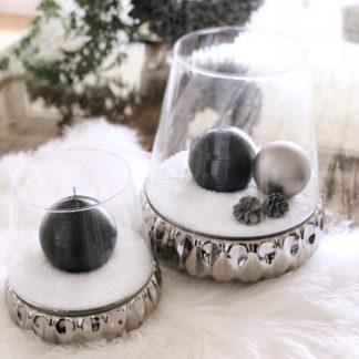Windlicht Teelicht Teelichthalter Spiegelglas mit Glas Aufsatz silber Kaheku 31 und 21 cm