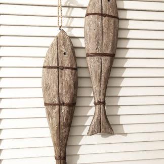 Dekoartikel Fisch Holz Holzfisch Deko Sommer Natur braun mit Draht Aufhänger Fisch