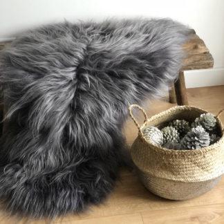 Fell Island Lammfell Schaffell, echt Fell, langhaar dunkel grau sehr weich premium Qualität