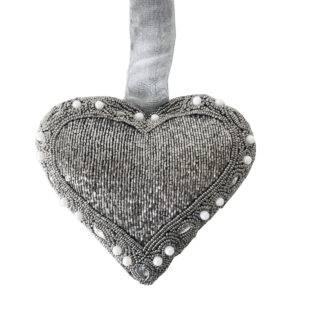 Herz Hänger silber grau bestickt Perlen Glasperlen Strass Stoffherz Aufhänger silber bestickt Strass Steine