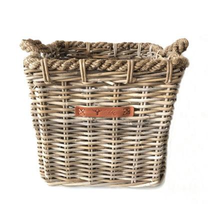 Korb Rattankorb Bambus Korb Weidenkorb aus Rattan in grau naturfarben mit Griffen robust geflochten maritim Naturprodukt