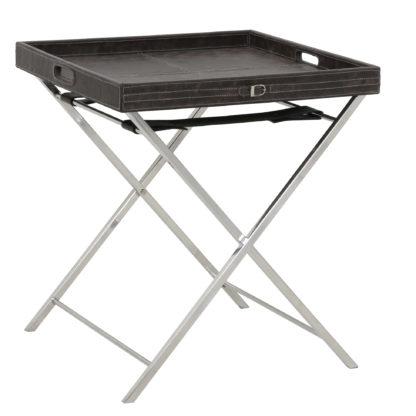 Tablett-Tisch Beistelltisch braun grau Leder Nachttisch Serviertisch Leder braun Tisch klappbar mit abnehmbarem Tablett in Leder Vintage braun grau Untergestell aus poliertem Metall Beine Nickel Light and Living Danley