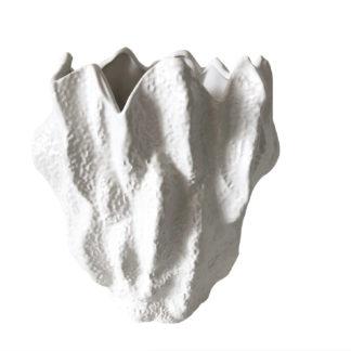 Vase Koralle weiß Blumenvase Korallen-Form weiß Keramik matt sehr edel Sommer Meer maritim