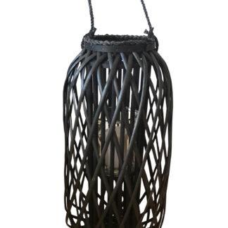 Windlicht Laterne Bambus Holz Ratten schwarz mit Glaseinsatz XXL 66 cm Hoch