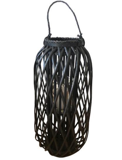 Xxl Windlicht Laterne Holz Bambus Rattan Mit Glaseinsatz 66cm