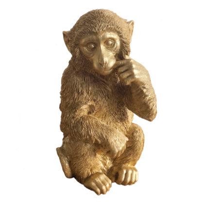 Dekofigur Affe Schimpanse in gold sitzend sehr großer Affe Dekoartikel Polyrestan Jungle Dekoration Urwald die Affen sind los