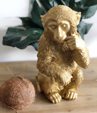 Dekofigur Affe Schimpanse in gold sitzend sehr großer Affe Dekoartikel Polyrestan Jungle Dekoration Urwald die Affen sind los Junglefieber