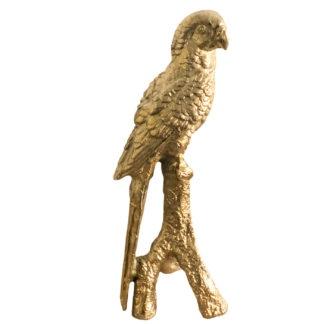Dekofigur Papagei Vogel in gold, edle exotische Dekofirgur Papagei in Aluminium Metall in gold, edel schwer und 38 cm groß Dschungel Fieber