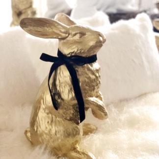 Hase Osterhase in gold stehend Dekofigur Hase Kaninchen Polyresan sehr edel Ostern Osterdekoration