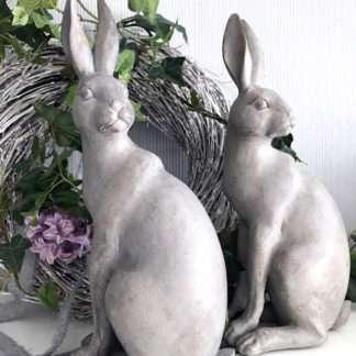 Sehr schöner Hase Osterhase sitzend grau weiß shabby chic Rabbit 31 cm