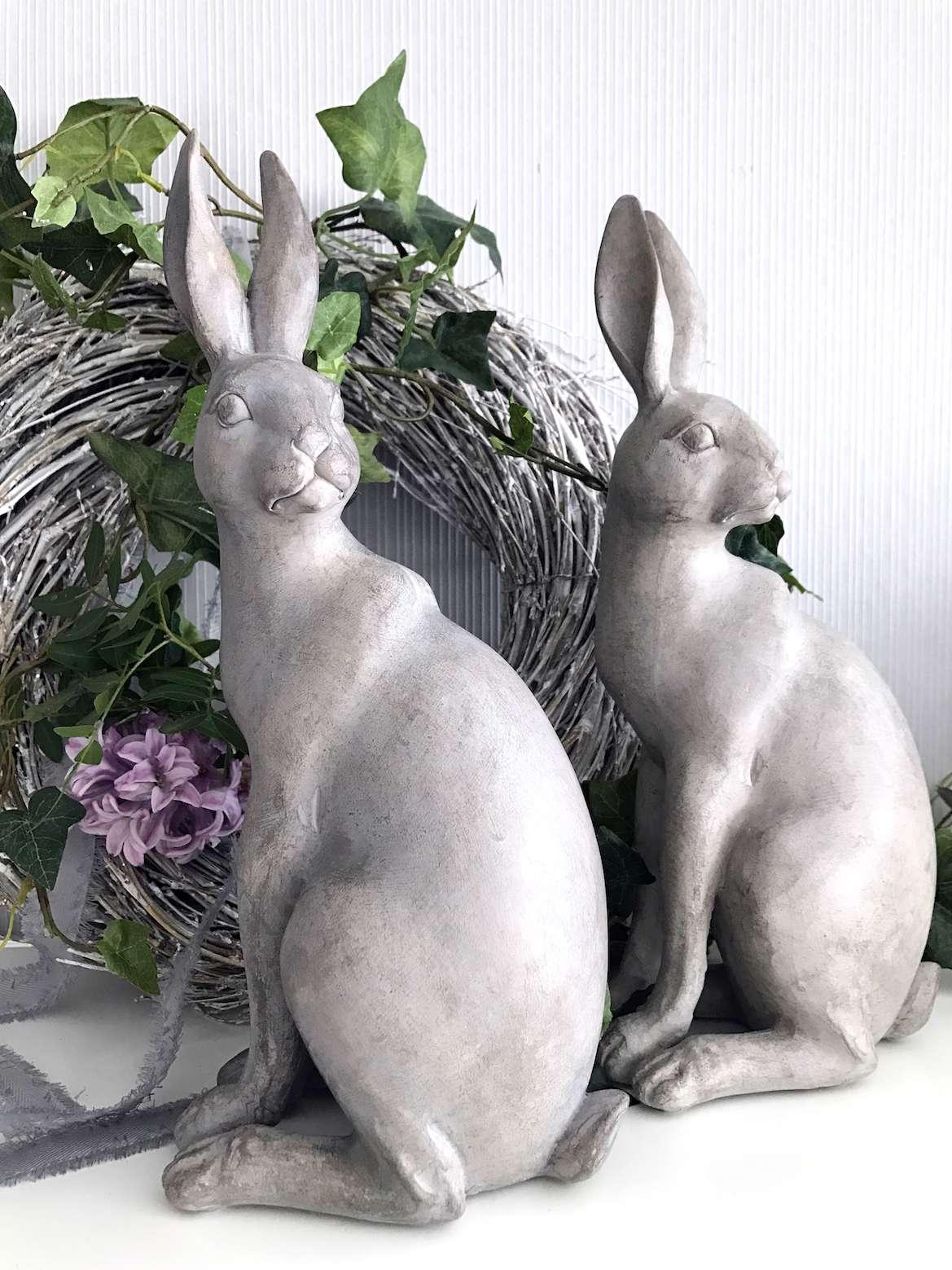 Hase Osterhase Grau Weiß Ostern Shabby Chic 31cm Osterdeko Rabbit