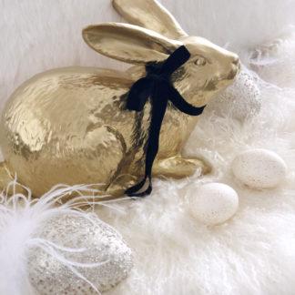 Hase gold Osterhase gold sitzend Dekofigur Hase Kaninchen Kunststein Polyresin sehr edel Ostern Osterdekoration