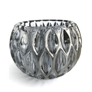 Teelicht Teelichthalter Glas silber grau smoke metallic Verlauf ROYON Light & Living schweres dickes Glas