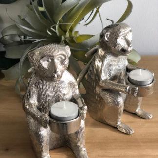 Teelichthalter Affe Affenfigur sitzend mit Teelicht silber Aluminium Metall sehr edel 16x9x18 cm