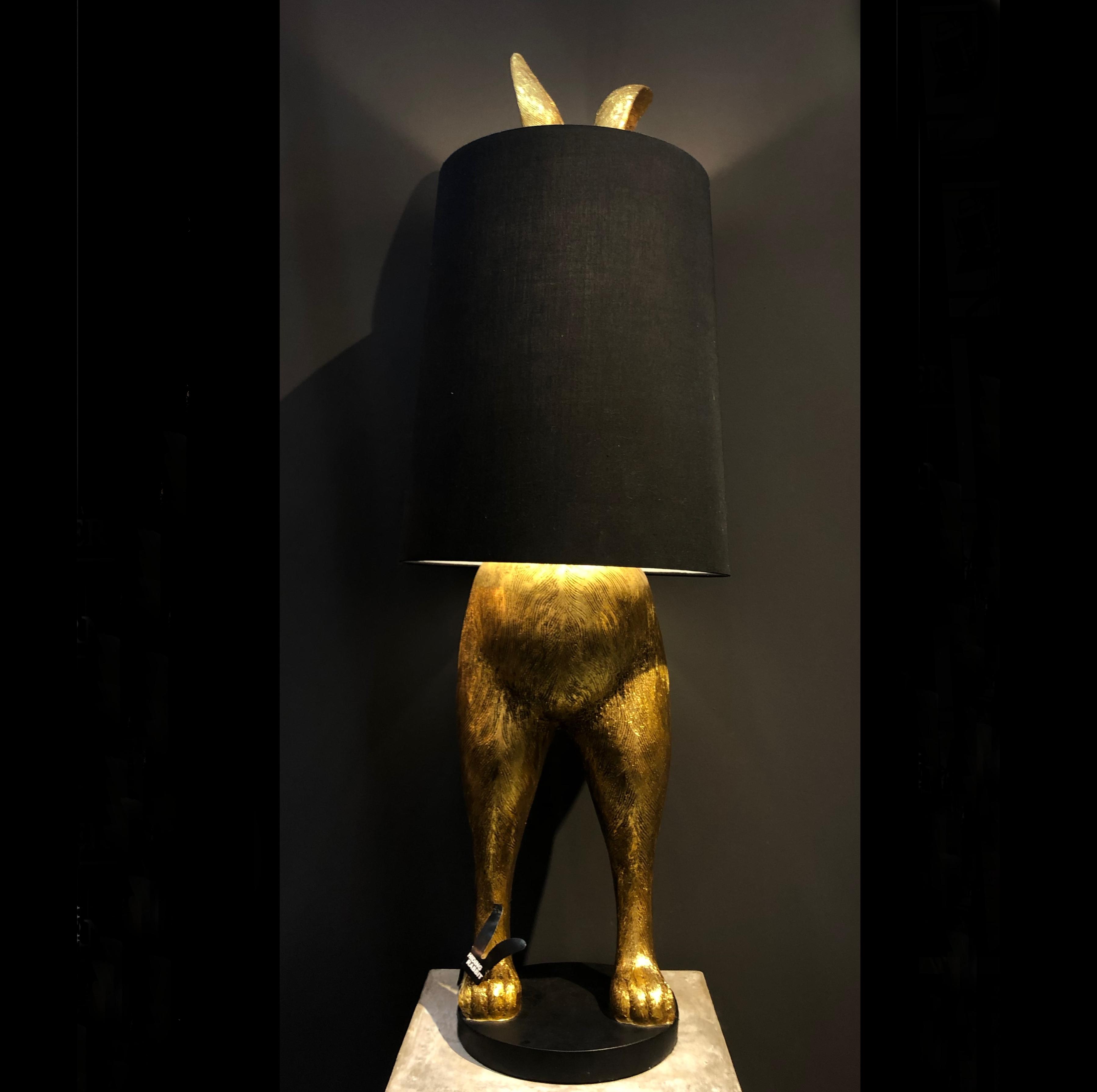Luxus Edle Extravagante Stehlampe Hase Gold Schwarz Rabbit 115 Cm