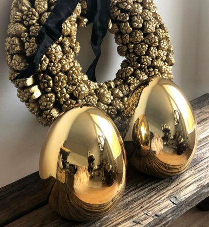 Ei Osterei gold Keramik glasiert goldenes Osterei Keramikei gold Osterdekoration gold goldenes Dekoei Osterei gold 19,5 cm groß 2er Set