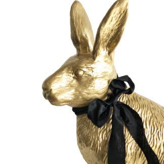 Hase Osterhase gold mit Schleife Prachtexemplar Hase XXL 60 cm groß stehend sehr edel Osterdekoration Dekohase gold