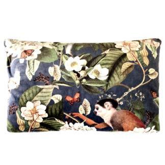 Kissen Samt mit Motiv Exotisch Affe Papagei Dschungel exotische Blumen in grün blau Rost 40x60 cm steen design