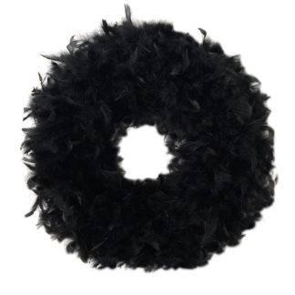Kranz Federn schwarz Federkranz echte Federn in schwarz XXL Kranz sehr edel Ø 44 cm rund