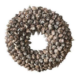 Kranz beige grau, Naturkranz Türkranz, Wandkranz, Frühlingskranz aus Knospen der Kokos-Frucht, beige grau nude Ton Osterkranz, Wandkranz