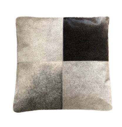 Kissen Kuhfell Patchwork grau braun schwarz Kuhfellkissen echt Leder in Patchwork sehr edel in 45 cm und 60 cm Bodenkissen Fell