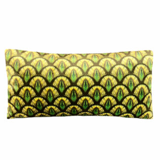 Kissen Samt in grün gold gelb Ton Pfauenmotiv Pfauenfedern Motiv sehr edel Exotisches Kissen Exotik Kissen Dschungel edel Luxuriös