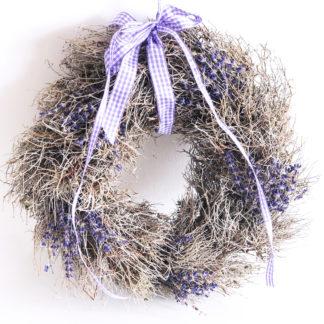Kranz Naturkranz aus Lavendel und getrockneten Ästen Strauch lila gebunden Lavendelkranz rund Ø 28 cm
