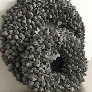 Kranz grau, Naturkranz Kranz grau, Koskos Frucht Kranz Knospen in grau, sehr edel sehr individuell, Ø40 und Ø 55 cm Kranz Türkranz Wandkranz grau