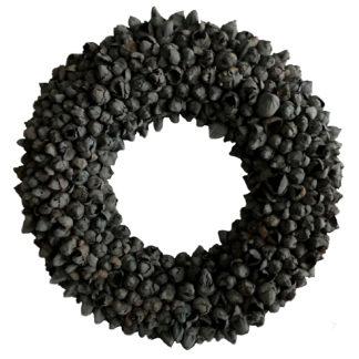 Kranz schwarz Naturkranz schwarz Koskos Frucht Früchte Knospen Ø40 und Ø 55 cm Kranz Türkranz Wandkranz Naturkranz Dekokranz schwarz Cocos fruit wreath black