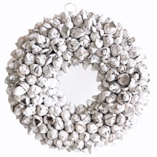 Kranz weiß Naturkranz weiß Türkranz weiß der Kokos Frucht Knospen sehr edel ials Osterkranz oder Tischkranz Wandkranz Dekokranz weiß Weihnachtskranz zu allen Jahreszeit Ø 40 cm