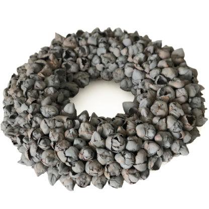 Kranz dunkel grau Naturkranz grau Kokos Frucht Kokos Früchte Knospen Ø40 und Ø 55 cm Kranz Türkranz Wandkranz Dekokranz Tischkranz Kränze grau COURONNE
