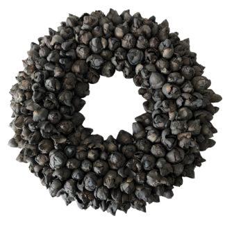 Kranz schwarz Naturkranz Kranz aus Kokos Frucht Knospen Kokos Früchte in schwarz Ø40 und Ø 55 cm Kranz Türkranz Wandkranz Dekokranz Cocos fruit wreath black