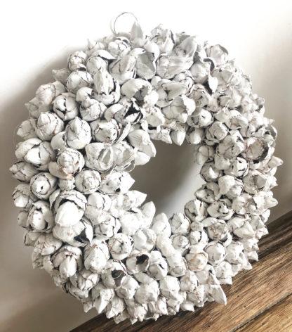 Kranz weiß Naturkranz weiß Türkranz weiß weiss aus Knospen der Kokos Frucht sehr edel in weiß als Osterkranz oder Tischkranz zu aller Jahreszeit Ø 40 cm