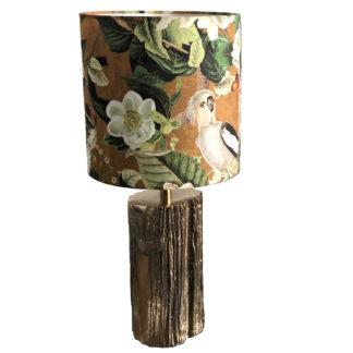 Tischlampe gold Metall Baum Ast Optik mit goldenem Schirm mit Motiv von Papagei Affe Blüten sehr edel Tischlampe light & Living