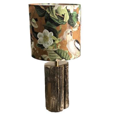 Tischlampe Gold Baum Ast Metall Lampenschirm Grün Dschungel Papagei