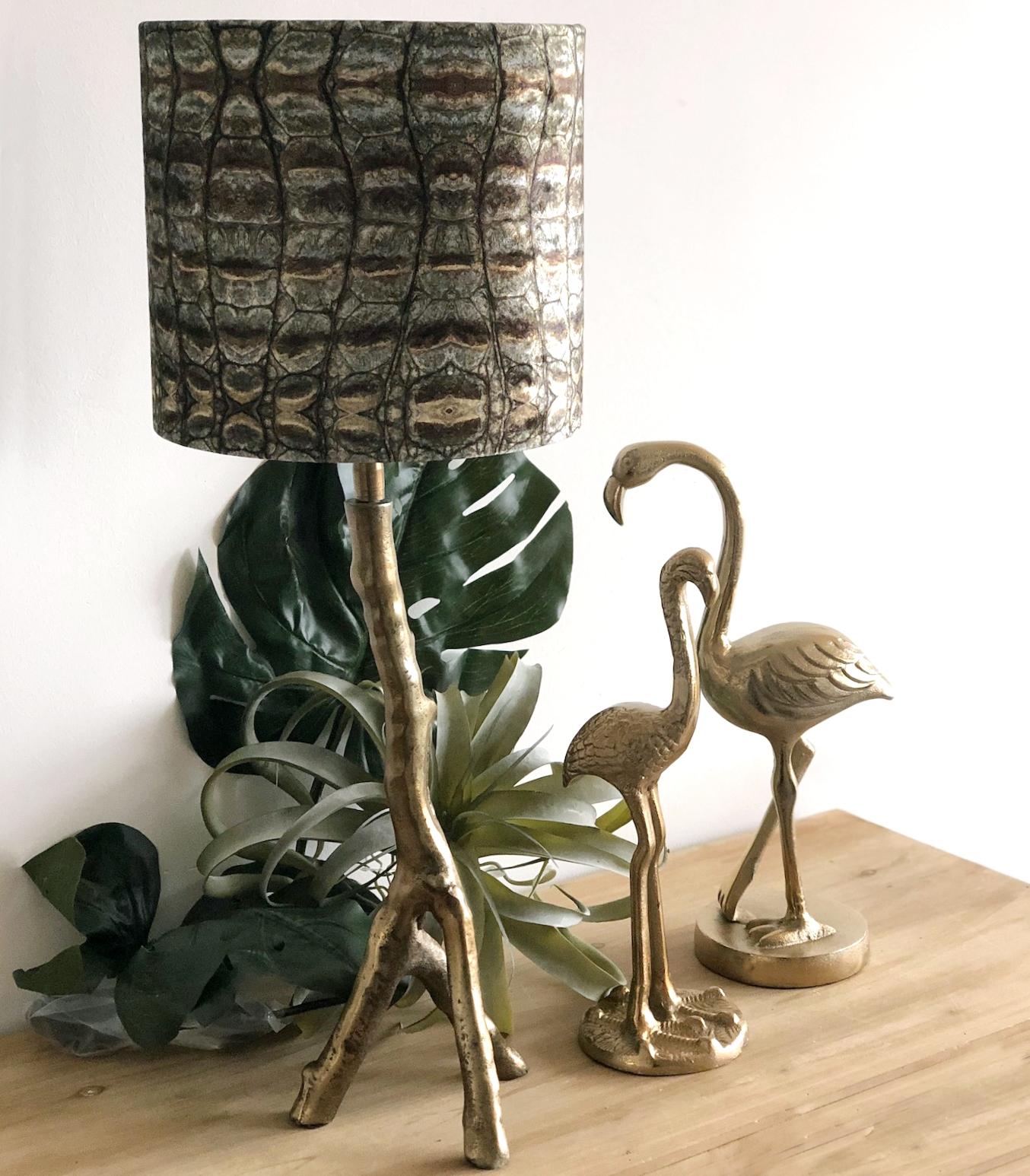 tischlampe bronze ast zweig motiv lampenschirm gr n gold. Black Bedroom Furniture Sets. Home Design Ideas