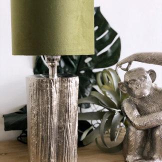 Tischlampe silber Metall in Baum-Optik mit einem grünen Olive grünen Samt Lampenschirm edel Exotik Dschungel Deko Urwald , Tischlampe silber mit grünen Lampenschirm sehr edel