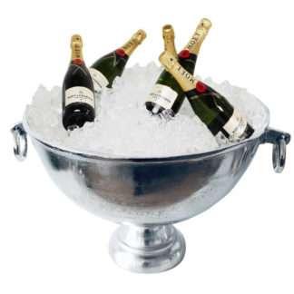 Champagnerkühler Sektkühler Weinkühler aus Aluminium Metall silber mit Griff und Aufschrift Champagner XXL Kühler Pokal Schale
