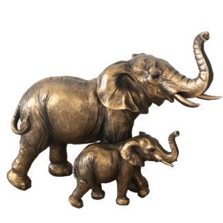 Denkfigur Elefant mit Baby gold antik bronze Statue Skulptur Elefant Exotik Afrika Dschungel Sommer
