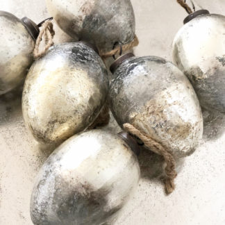 Glasei Ei Osterei silber bronze gold Kupfer grau Verlauf 2er Set silber Finish antik silber Shabby chic Ostern Dekoei silber gold