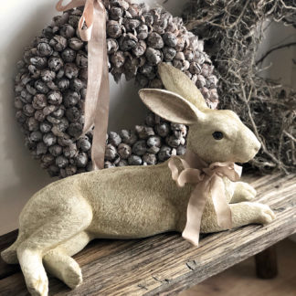 Hase Osterhase beige weiß nude liegend sitzend Dekohase beige weiß Dekofigur Hase sitzend Kaninchen liegend Ostern Osterhase Prachtexemplar von Hasen XXL Naturton