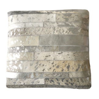 Kissen Kuhfell silber grau beige echt Leder Patchwork Kissen mit Lederstücken echt Fell echt Leder Lederkissen silber weiß grau beige