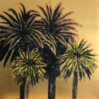 Leinwandbild Palmen Dschungel Kokospalme gold grün schwarz braun Ton Palm Springs handgemalt sehr edel von Werner voss