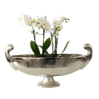 Schale Pokalschale silber Metall Aluminum vernickelt länglich Schale mit Fuß Aluminium Pflanzenschale Schale silber cor mulder 2 Größen Dekoschale Metallschale Pokalvase Vase