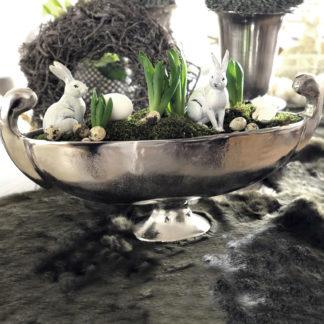 Schale Pokalschale länglich Metall Aluminum vernickelt Schale mit Fuß Aluminium Pflanzenschale Schale silber