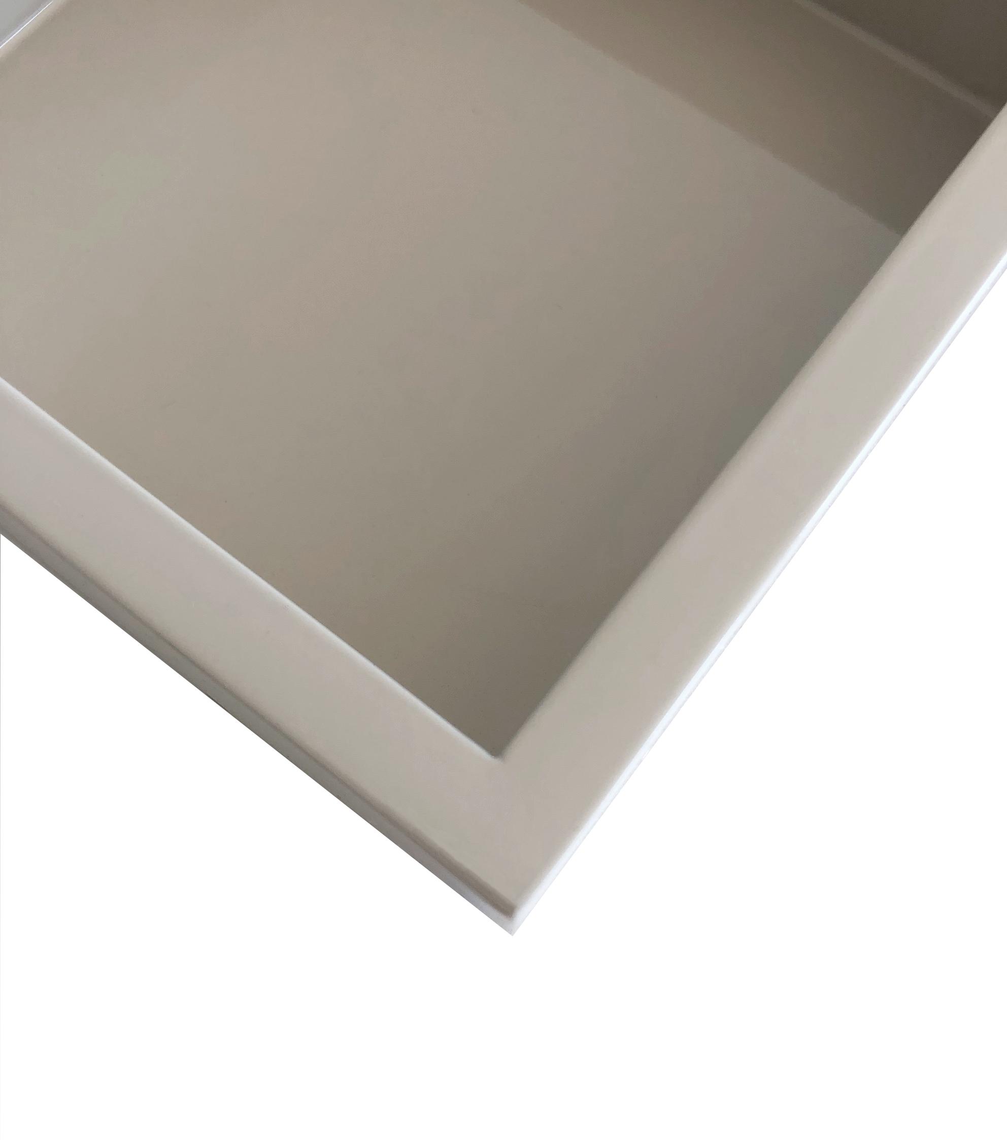 Tablett Lacktablett sandstone taupe Hochglanz lackiert länglich 40 cm
