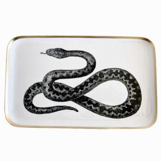 Tablett weiß schwarz gold Motiv Schlange Vintage rechteckig länglich Retro Boho Dschungel Stil Saigon Gift Company