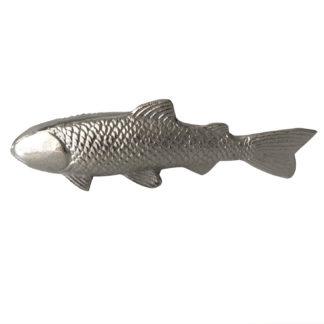 Deko Figur Fisch silber Metall Aluminium vernickelt zum hinstellen